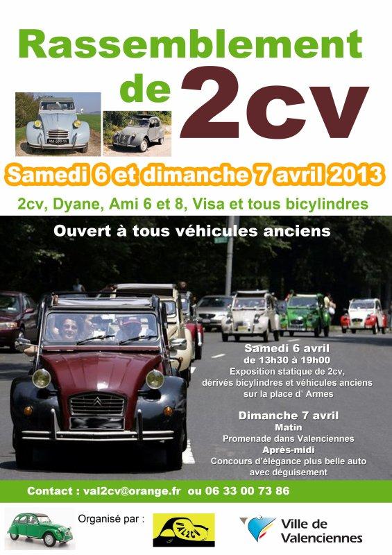 Samedi 6 et dimanche 7 avril 2013 Rassemblement 2cv&dérivés à Valenciennes