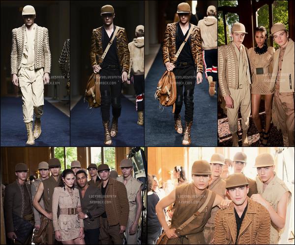 27/06/2015 : Lucky Blue Smith a défilé pour le créateur Balmain durant la fashion week de Paris.