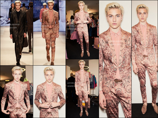 22/06/2015 : Lucky Blue Smith a défilé pour la maison italienne Etro à la Fashion Week de Milan.