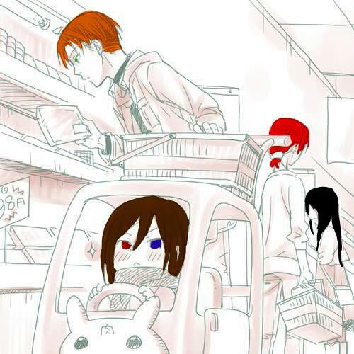 Sean, Alice, Esteban et Olivia au supermarché