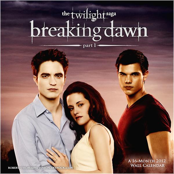DIVERS:            Couverture d'un calendrier consacré à Breaking Dawn - Partie 1.  Vos impressions ?