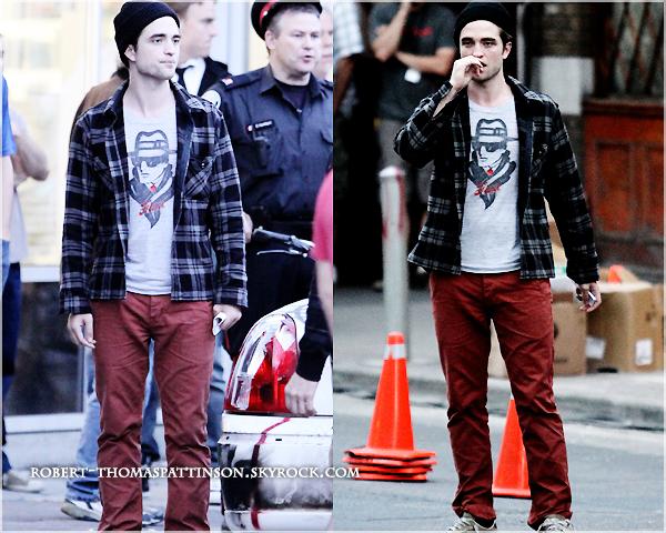 28/06/11:            Robert de nouveau sur le tournage de COSMOPOLIS avec son pantalon rouge puis se prenant une tarte dans la tronche au sens propre tout en gardant la classe biensur !