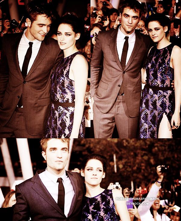14/11/11:            Robert accompagné de Kristen et Taylor à l'avant première de Breaking Dawn - part. 1 à LA.