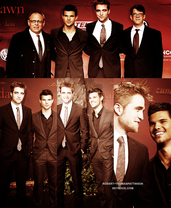 18/11/11:            Robert, Taylor et Bill Condon à l'avant première de Breaking Dawn à Berlin.