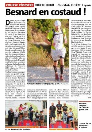 Trail de Gorbio 2011 – Podium ASPTT Nice