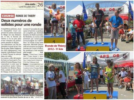 Ronde de Thiéry 2012 – Victoire Féminine et Podiums pour l'ASPTT Nice