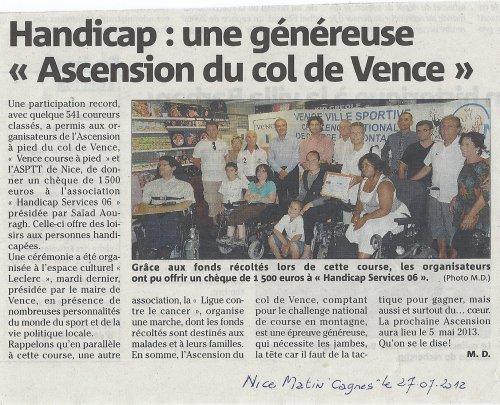 Ascension du Col de Vence 2012 - Remise de Chèque
