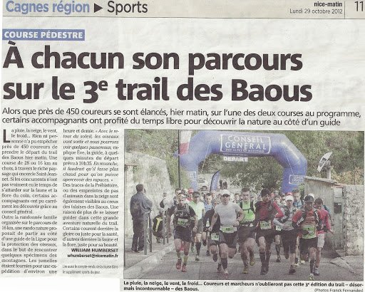 Trail des Baous 2012 (Saint-Jeannet)...entre neige et soleil…Podiums ASPTT Nice !