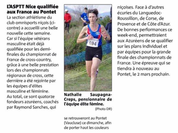 L'ASPTT Nice en route pour les demi-finales des France de Cross 2014 au Pontet