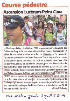 Lucéram - Peïra-Cava (06) - Victoire de Fred Gayol, podium scratch pour Arnaud Folco
