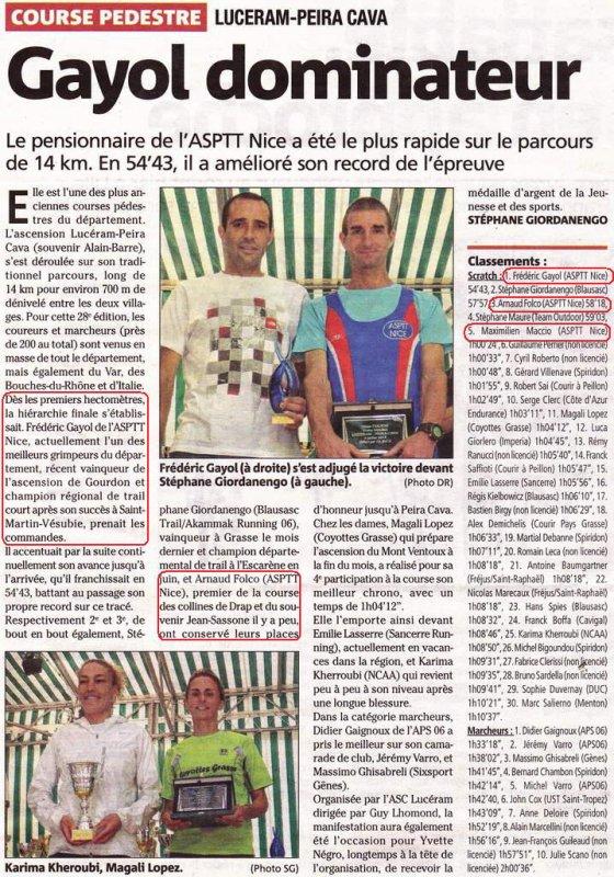 Ascension Lucéram - Peïra-Cava 2014 - Fred Gayol à l'honneur dans nice-matin