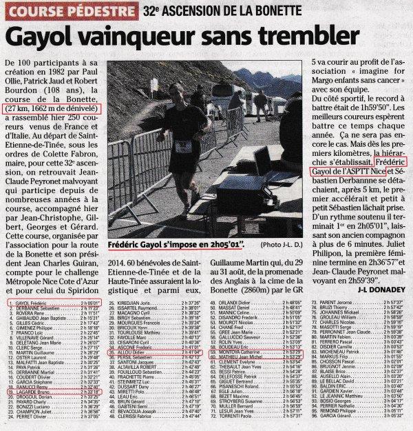 Ascension de La Bonette 2014 – Victoire de Fred Gayol, Cathy Montoya 3ème Féminine