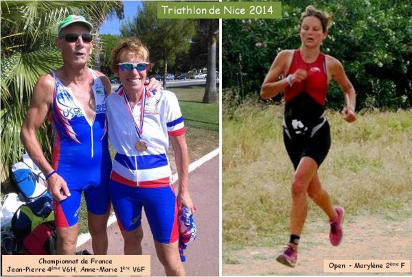Triathlon de Nice 2014 – Anne Marie Dapui Championne de France (catégorie V6F) Marylène Draillard 2éme Femme (Open)