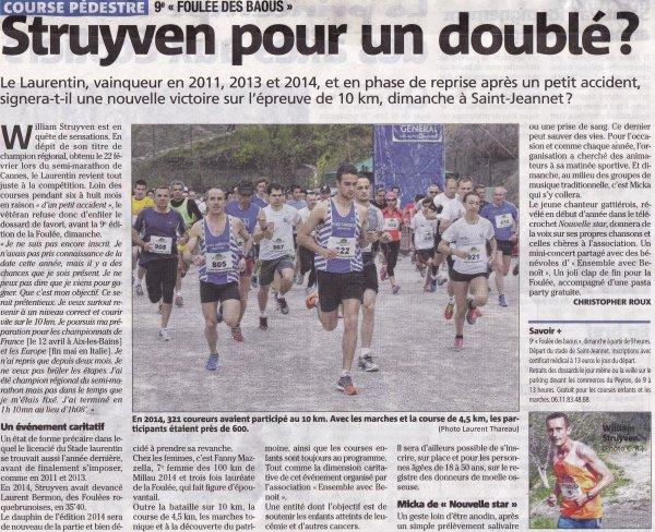 """nice-matin: une demi-page consacrée à """"La Foulée des Baous"""" (dimanche 22 mars)"""