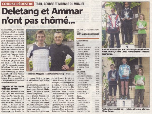Trail du Muguet 2015 (Cantaron) – Sébastien Magyari 2ème scratch, Sylvie 2ème V2F