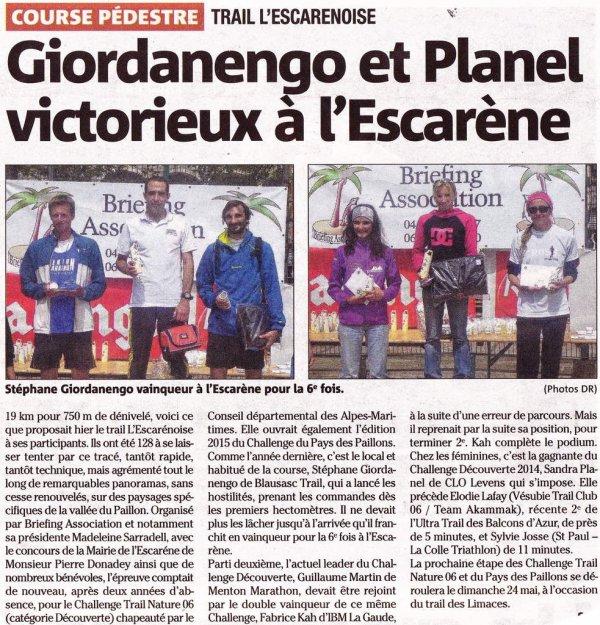 Trail « L'Escarènoise « 2015 (L'Escarène - 06)