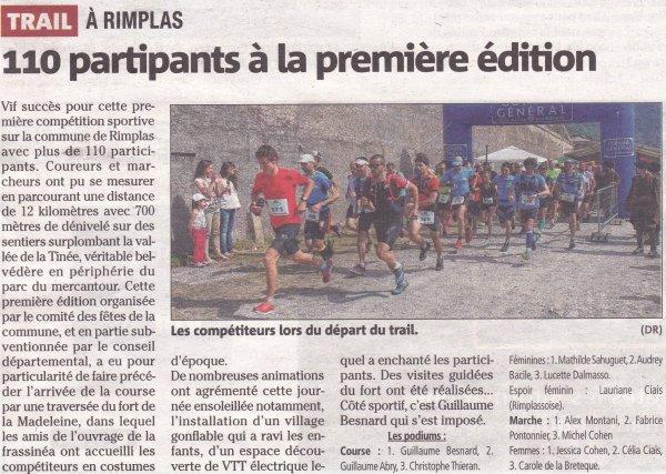 Trail de Rimplas 2015 - Guillaume 2ème. Podiums pour Jean-Vincent, Cathy et Pascale