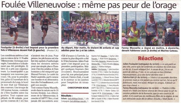 Foulée Villeneuvoise 2015 – Victoire de Fanny Mazella sur 10 km. Sébastien Bertoni 2ème du 5 km