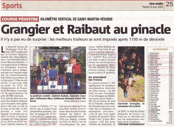 KV de Saint-Martin-Vésubie 2015 – Guillaume 3ème Scratch, Turquoise 2ème Féminine