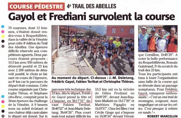 Trail des Abeilles 2015 (Roquebillière) – Fred Gayol et Amandine Guerdoux au sommet