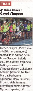 Brise Glace 2015 (La Brigue) - Fred Gayol en tête, Sylvie Carmino 2ème V2F