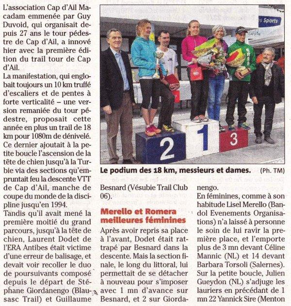 Trail Tour de Cap d'Ail 2015 – L'ASPTT Nice « squatte » le podium !