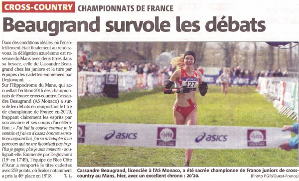 L'ASPTT Nice aux Championnats de France de Cross-Country 2016
