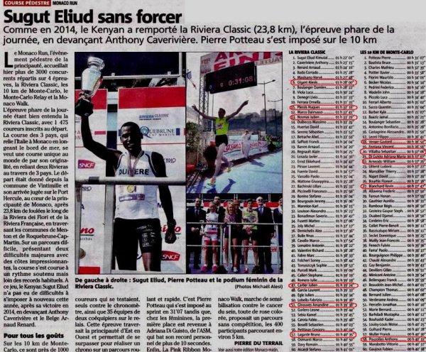 Monaco Run 2016 – Victoire d'équipe de l'ASPTT Nice, podiums pour Hugues et Anthony
