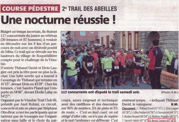 Trail Nocturne des Abeilles 2016 (Roquebillière) – Top 10 pour Benoit Outters