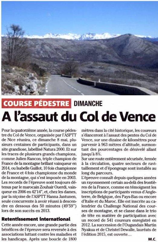Ascension du Col de Vence (8 mai 2016) - Fin des inscriptions en ligne le 5 mai