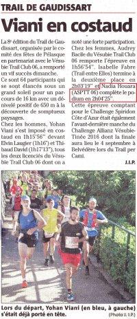 Trail de Gaudissart 2016 (Pélasque) - Nadia Houara 3ème Féminine