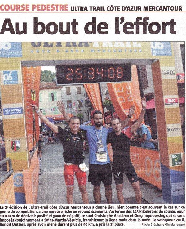 Ultra-Trail Côte d'Azur Mercantour 2016 – 3ème marche du podium pour Benoit Outters
