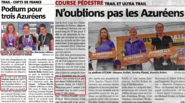 France de Trail - Les médaillés du club à l'honneur dans les colonnes de nice-matin