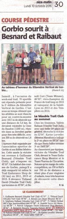 Kilomètre Vertical de Gorbio 2016 - Anthony Caverivière dans le Top 10