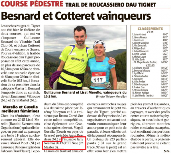 """Trail de Roucassiero dau Tignet 2016 – Jany et Clary Nosmas """"aux premières loges"""" !"""