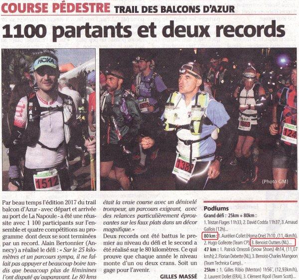 Trail des Balcons d'Azur 2017 - Benoit 3ème sur 80 km, Isabelle 1ère Master 2 sur 47 km
