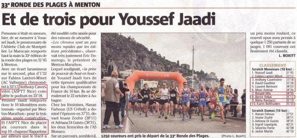 La Ronde des Plages 2017 (Menton) - Six athlètes de l'ASPTT Nice dans le Top 10 !