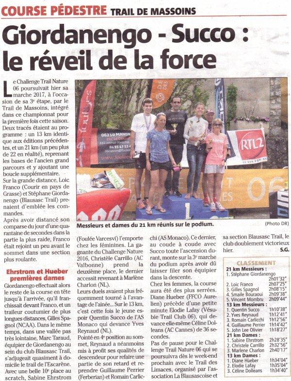 Trail de Massoins 2017 - Nadia Houara et Isabelle Belia sur le podium