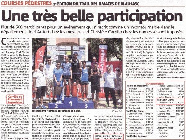 Trail des Limaces 2017 (Blausasc) - Victoire de Céline sur le Speed Limaces (9,5 km)