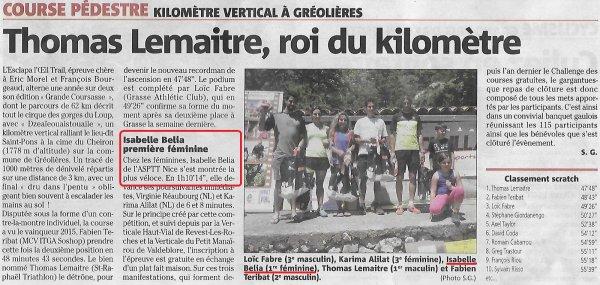 Kilomètre Vertical du Cheiron 2017 (Gréolières) - Victoire d'Isabelle, Anthony 1er junior