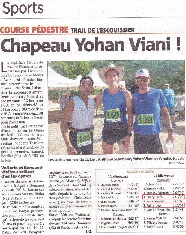 Trail de l'Escouissier 2017 - Top 10 et podiums pour Charly, Rafael et Michaël sur 21 km