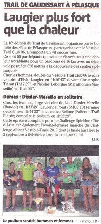 Trail de Gaudissart (Pélasque, 06) - Podiums pour David (5ème), Isabelle et Nadia