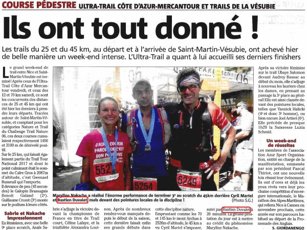 UTCAM et Trails de la Vésubie 2017 - Bastien Duvalet 2ème scratch sur 45 km
