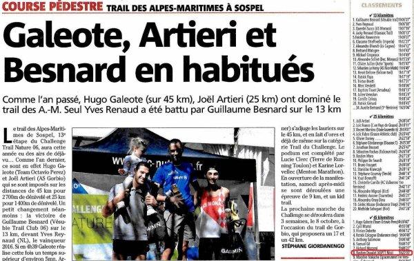 Trail des Alpes-Maritimes 2017 - Podiums pour Bastien sur 45 km et Isabelle sur 25 km