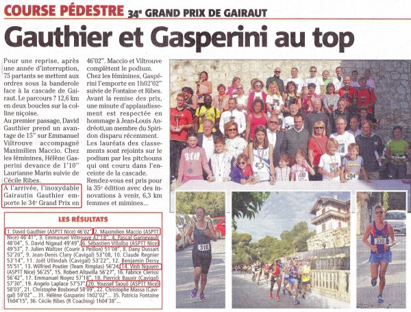 Grand Prix de Gairaut 2017 (Nice) - Victoire de David Gauthier, Maximilien Maccio 2ème