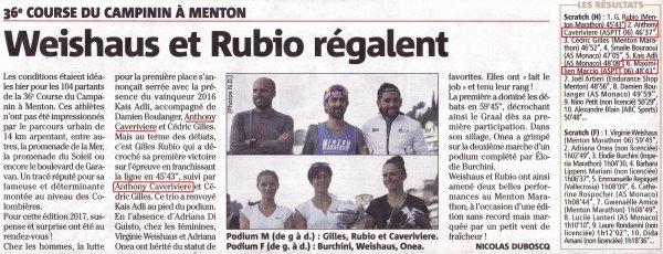 Course du Campanin (Menton) - Anthony Caverivière 2ème, Maximillien Maccio 6ème