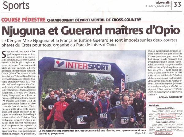Championnats des Alpes-Maritimes de Cross-Country 2018 (Opio) - Podiums ASPTT Nice