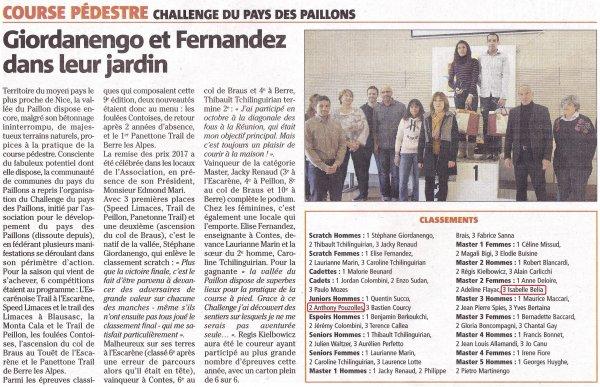 Challenge Pays des Paillons 2017 - Podiums pour Isabelle et Anthony.