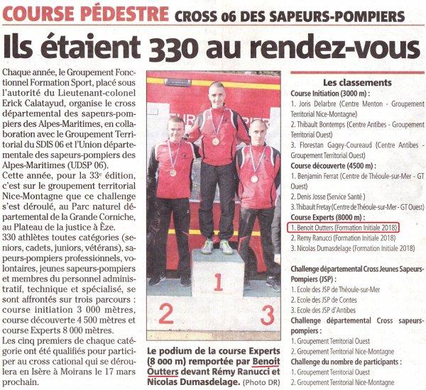 Cross départemental des sapeurs-pompiers 2018 (Nice) - Victoire de Benoit Outters