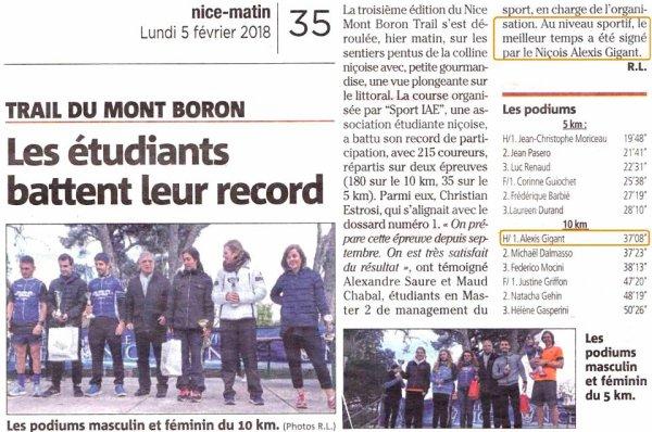 Nice Mont Boron Trail 2018 - Victoire d'Alexis Gigant sur 10 km, David Demarty 4ème